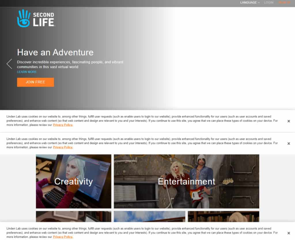 Photo of Second Life site; an online virtual world simulator