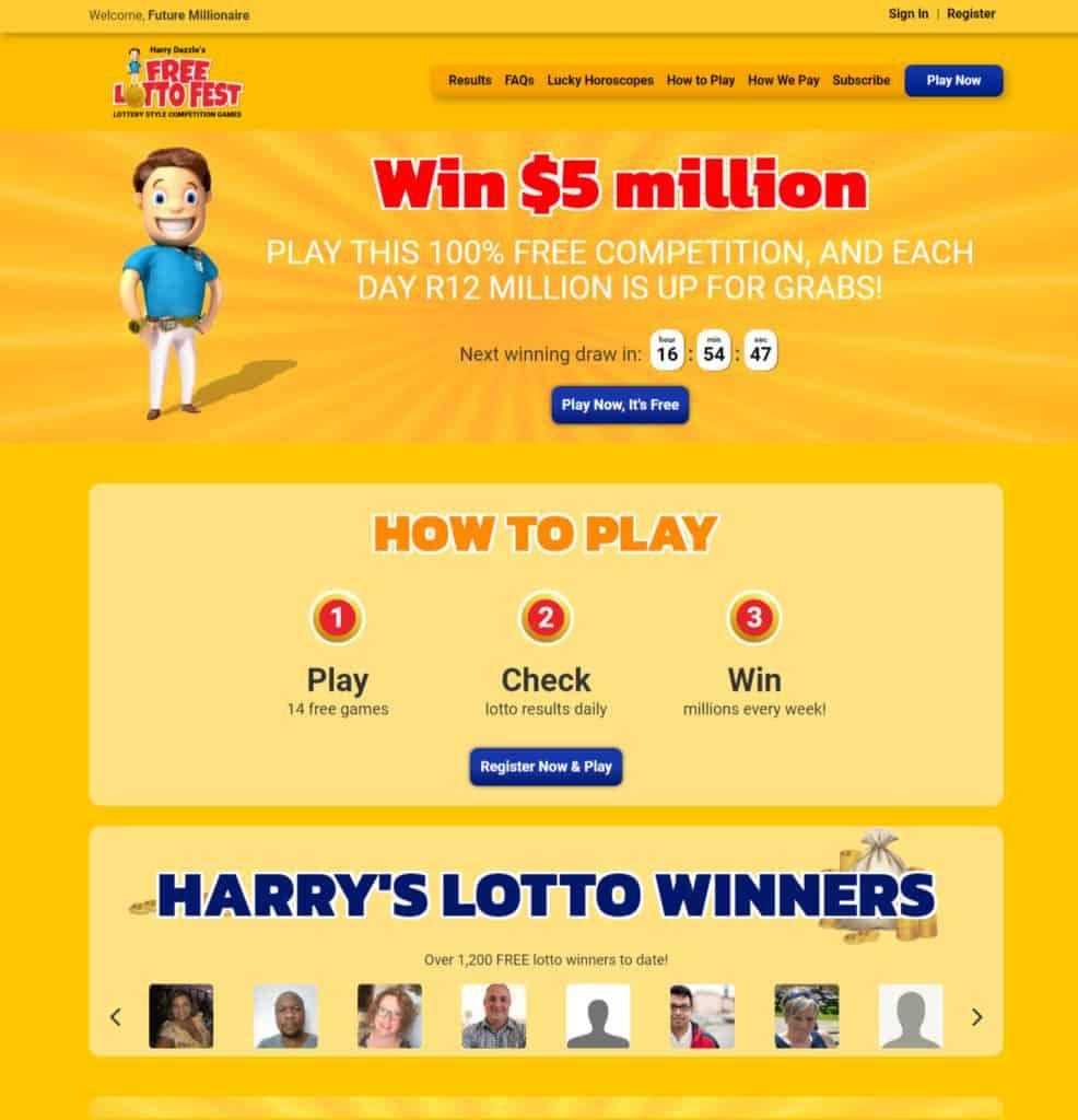 Photo of Free Lotto website