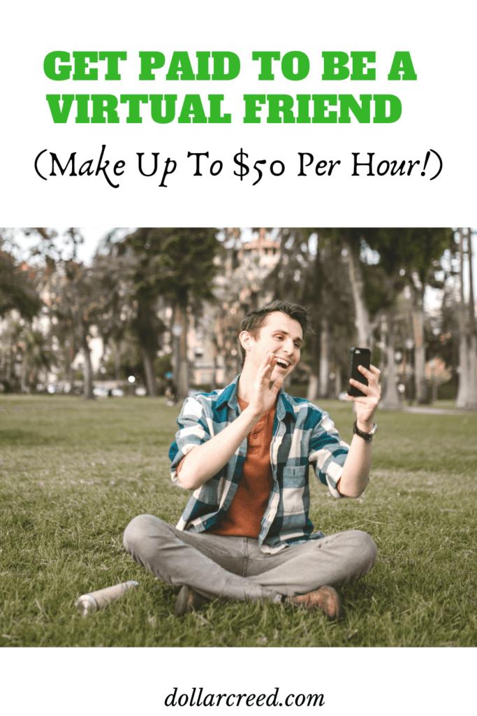 Pin Image of get paid to be a virtual friend