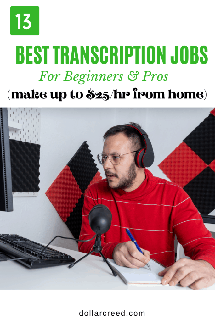 Pin image of best trabscription jobs