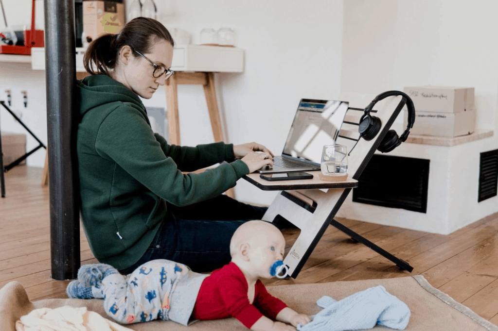 Photo of a mom working from home