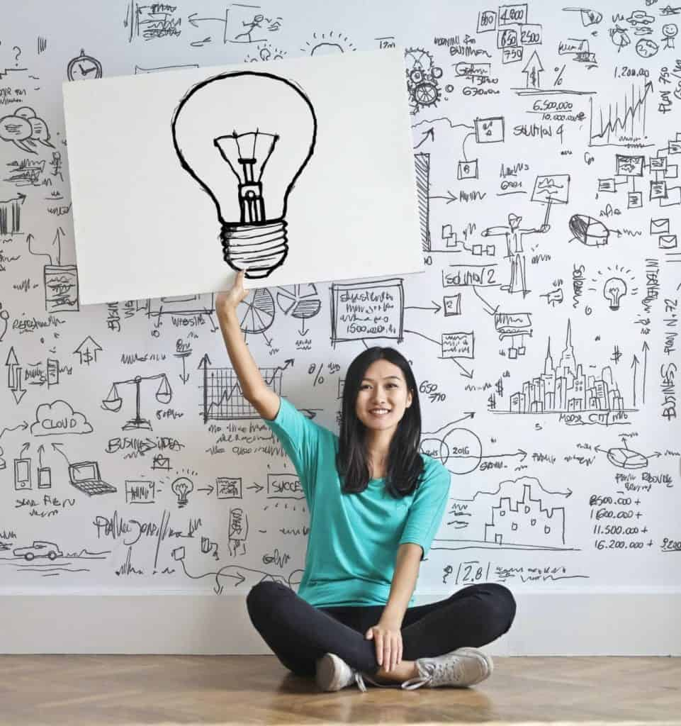 Photo of a woman full of ideas; you can sell them to companies that pay for ideas