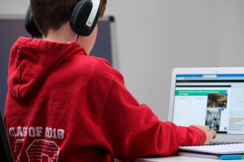 Photo of a boy on a laptop
