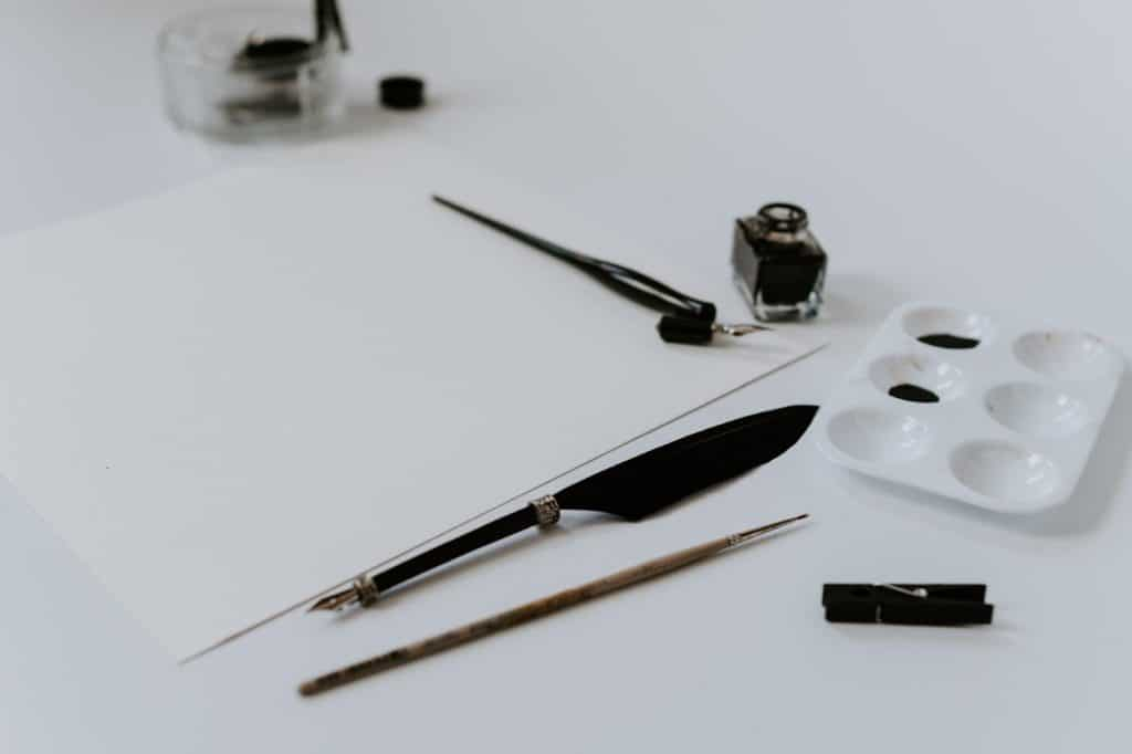 Photo of ink and drawing tools
