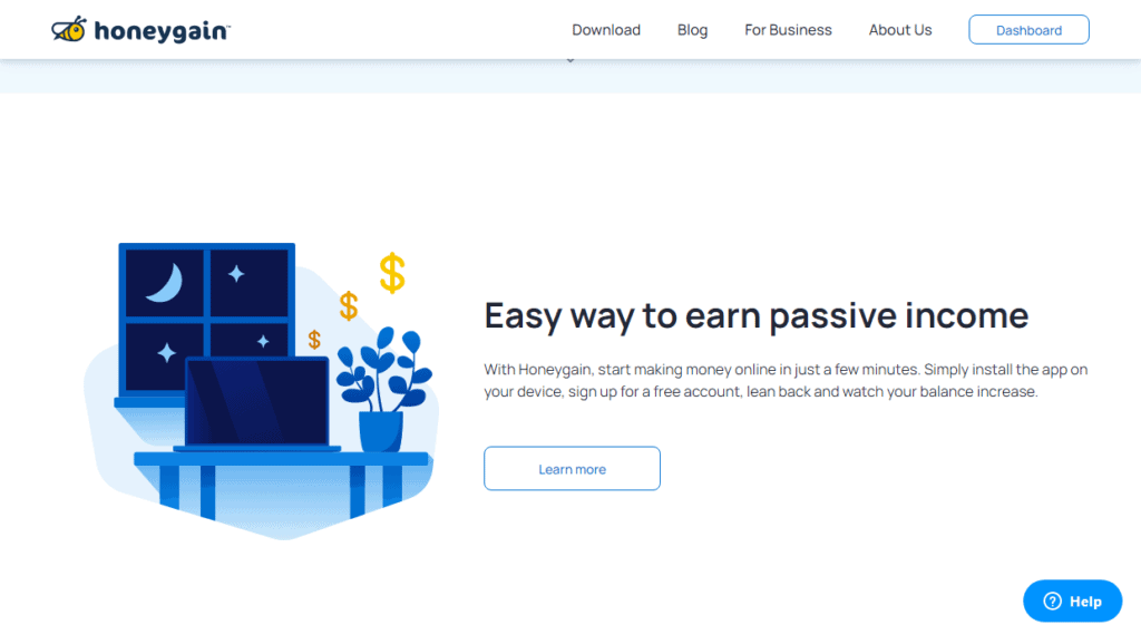 Photo of honeygain site; a way to earn free paypal money instantly