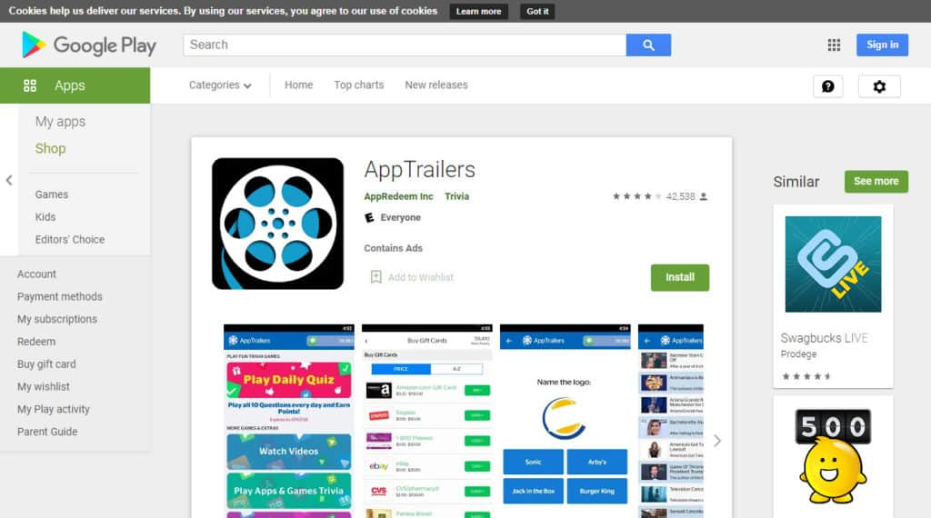 Photo of App trailers site; a way to get free paypal money instantly