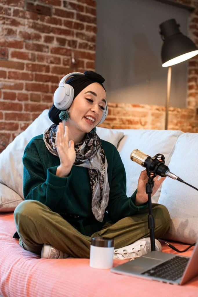 Photo of a woman doing a voice over work