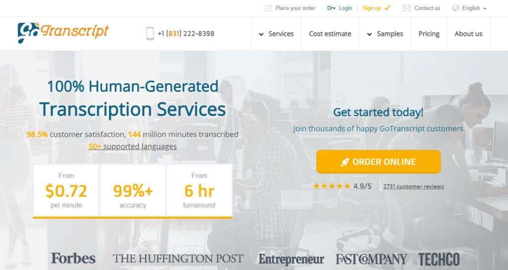 Photo of a screenshot of gotranscript site