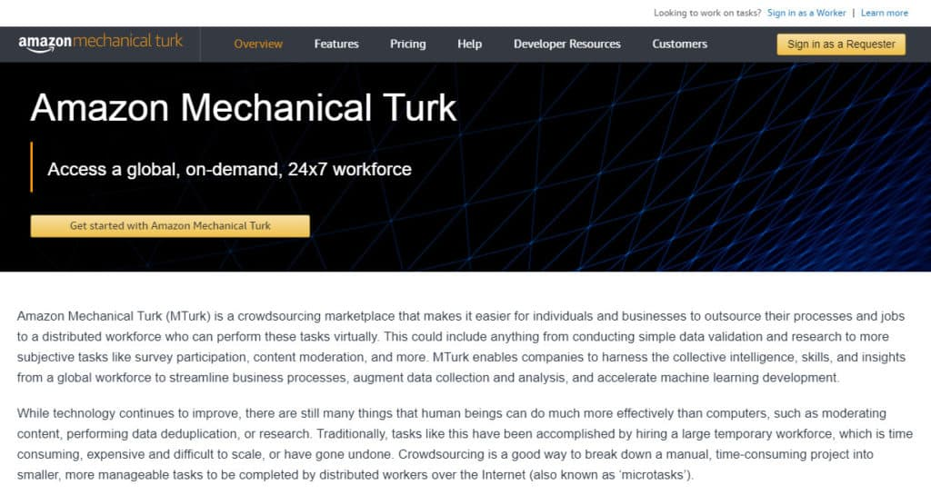 Photo of Amazon Mechanical Turk site - a great place to find Amazon work from home data entry jobs