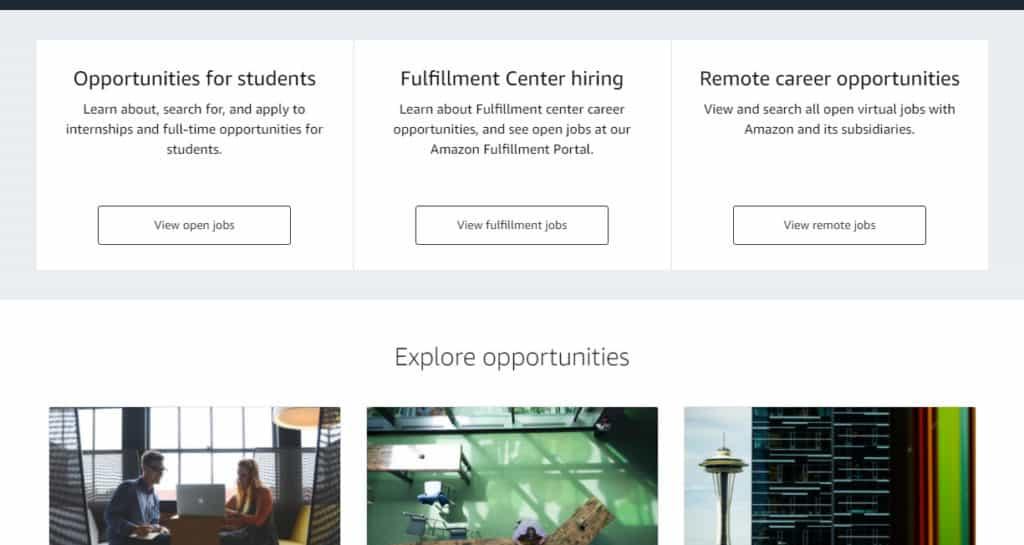 Photo of the Amazon Job site