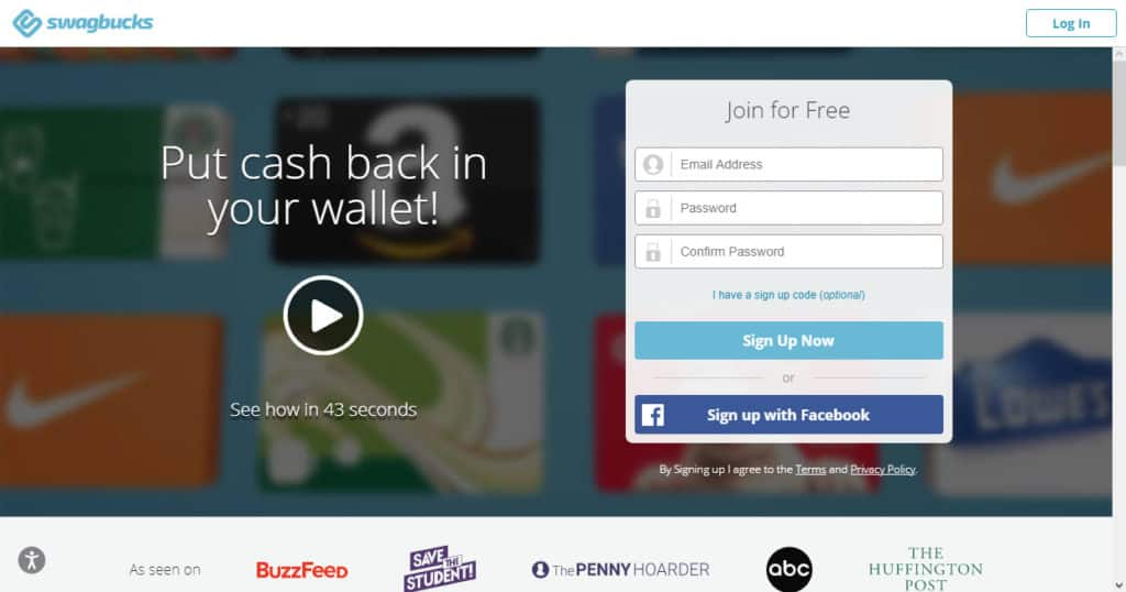 Photo of Swagbucks site; taking surveys is a quick way to get cash when you need money now