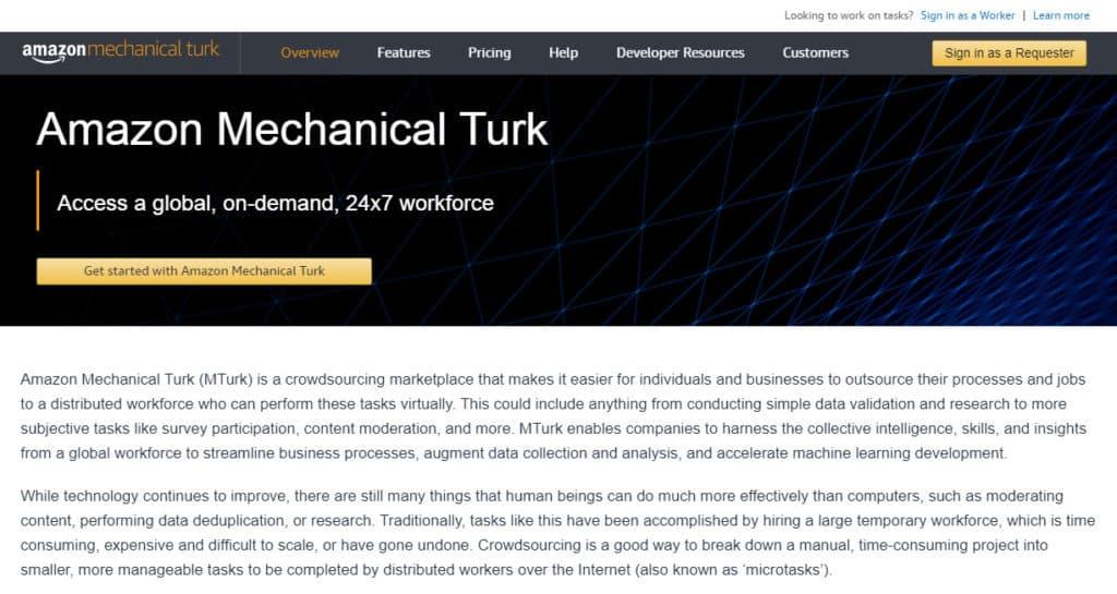 Photo of Amazon Mechanical Turk site