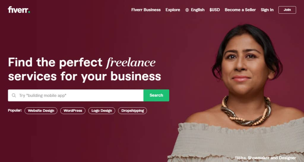 Photo of Fiver; a great site to find Data entry jobs